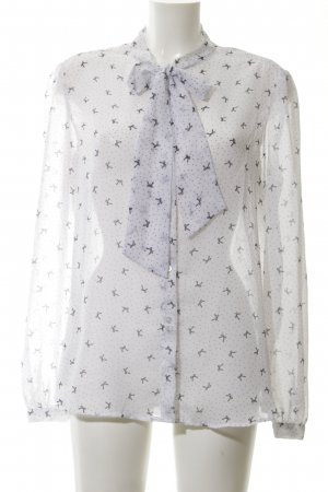 American Apparel Transparenz-Bluse weiß-schwarz Mustermix Elegant