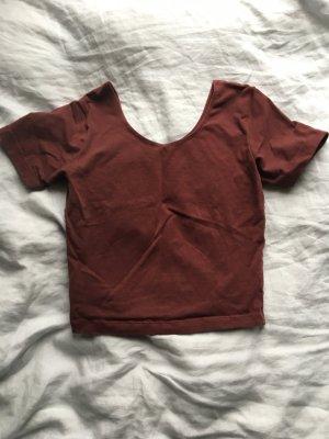American Apparel tshirt Bauchfrei Shirt top dunkelrot rot Aubergine  strech Sport sommer