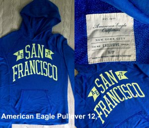 American Eagle Outfitters Hooded Sweater steel blue