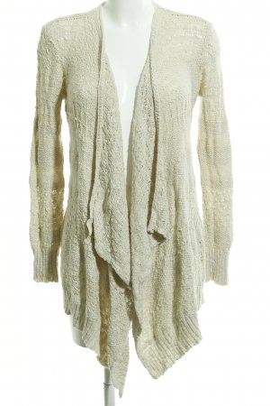 American Eagle Outfitters Cardigan creme Lochstrickmuster Casual-Look