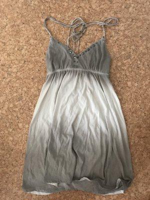 American Eagle Outfitters Grau/Weißes Kleid mit Schnürträgern