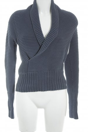 American Eagle Outfitters Grobstrickpullover graublau Struktur-Optik