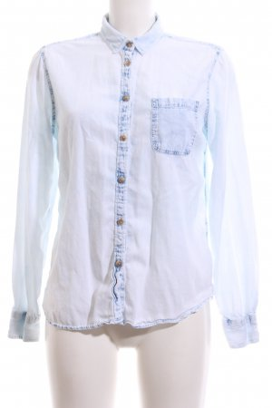 American Eagle Outfitters Spijkershirt wit-blauw casual uitstraling