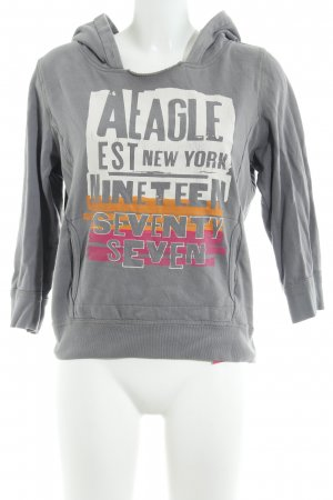 American Eagle Outfitters Hooded Sweater grey themed print athletic style
