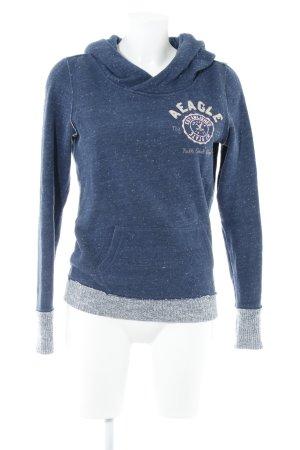 American Eagle Outfitters Jersey con capucha azul acero Patrón monograma