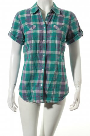American Eagle Outfitters Kurzarm-Bluse blasslila-grün Karomuster Casual-Look