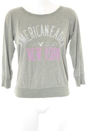 American Eagle Outfitters Longsleeve graugrün Schriftzug gedruckt Beach-Look
