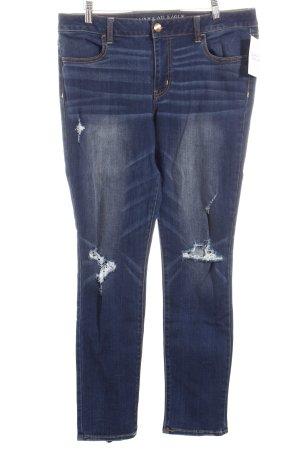 American Eagle Outfitters Slim Jeans dunkelblau-wollweiß Destroy-Optik