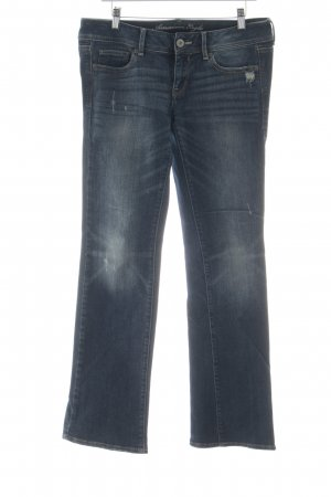 American Eagle Outfitters Straight-Leg Jeans dunkelblau Destroy-Optik