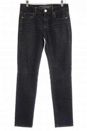 American Eagle Outfitters Stretch Jeans dark blue Logo application (leather)