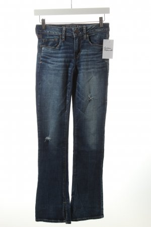 American Eagle Outfitters Stretch Jeans dunkelblau-wollweiß Destroy-Optik