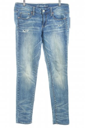 American Eagle Outfitters Stretch Jeans stahlblau Destroy-Optik