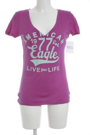 American Eagle Outfitters T-Shirt mint-lila Schriftzug gedruckt sportlicher Stil