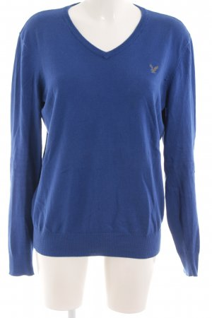 American Eagle Outfitters V-Ausschnitt-Pullover blau Casual-Look