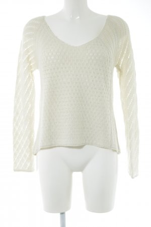 American Eagle Outfitters V-Ausschnitt-Pullover weiß Zopfmuster Elegant
