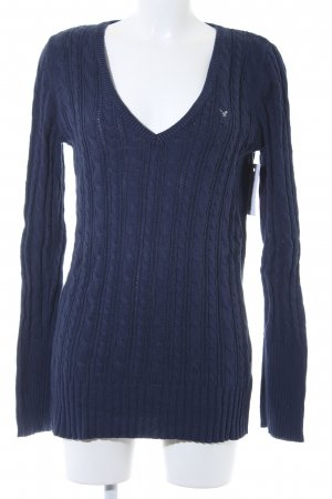American Eagle Outfitters Cable Sweater dark blue cable stitch casual look