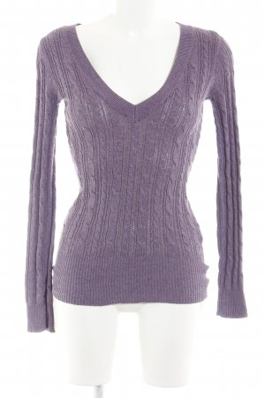 American Eagle Outfitters Cable Sweater grey violet cable stitch casual look