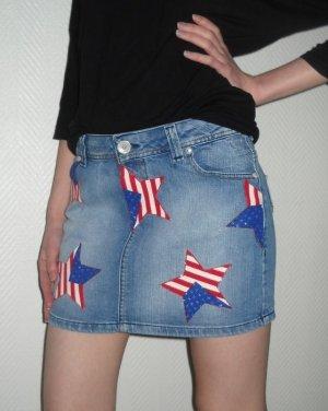 American Flag Stars Jeans Rock DIY Hüftrock Pimkie blau 34 36 XS S H M Sterne