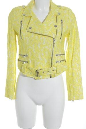 American Retro Chaqueta de motociclista amarillo neón-blanco