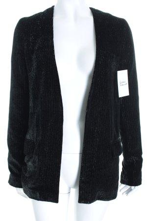 American retro Blazer noir-argenté rayure fine style métallique