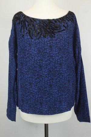 American Retro Blouse en soie bleu foncé-noir soie