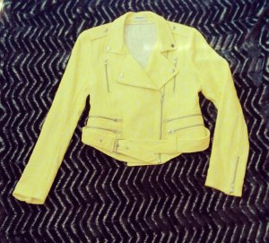 *American Retro Damen Blazer Jacke Bikerjacke Gr. S 36, gelb ,Spitze,sexy*
