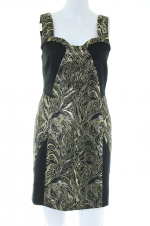 American Retro Sheath Dress black-gold-colored abstract pattern elegant