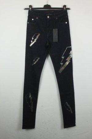 American Retro Jeans taille haute multicolore coton