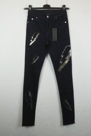 American Retro Jeans High Waist Gr. 27 schwarz Blitze NEU