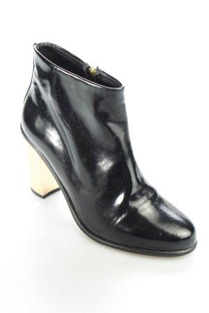 American retro Reißverschluss-Stiefeletten schwarz-goldfarben