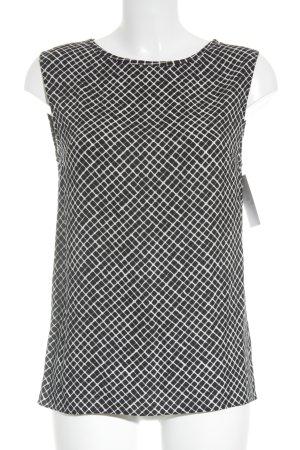 American Vintage Mouwloze blouse zwart-wit geruite print Britse uitstraling
