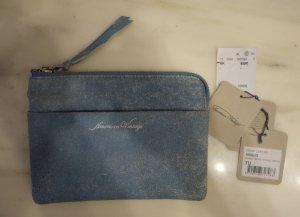 American Vintage Angus Rindsleder Zipper Clutch Tasche pastell blau Vintage Look