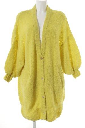 American Vintage Cárdigan amarillo pálido Patrón de tejido look transparente