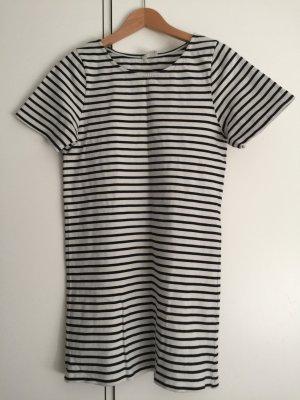 American Vintage Vestido de manga corta azul oscuro-blanco puro