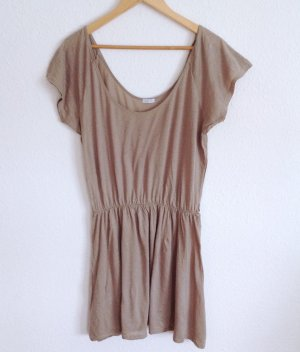 American Vintage Kleid Nude Hellbraun Haut Longshirt Lagenlook Layering Vegan L