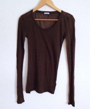 American Vintage Longshirt Langarm Longsleeve Shirt Marron Dunkelbraun Yoga L