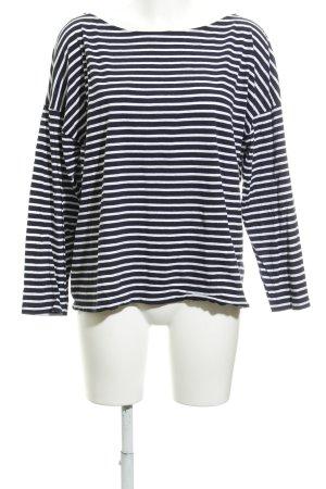American Vintage Top à manches longues bleu foncé-blanc rayures horizontales