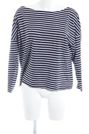 American Vintage Top à manches longues bleu foncé-blanc cassé motif rayé