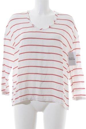 American Vintage Longsleeve weiß-hellrot Streifenmuster klassischer Stil