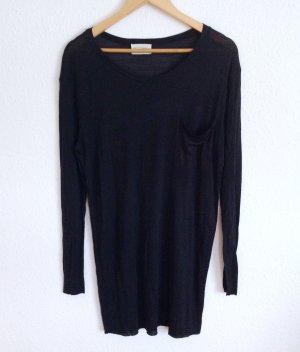 American Vintage Luxus Wolle Seide Longshirt Kleid Schwarz Minimalismus Clean S