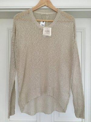 American Vintage Kraagloze sweater nude Zijde
