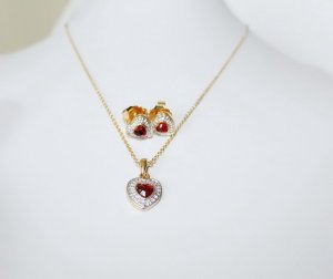 American Vintage Ruby Heart Schmuck Set 22kt. vergoldet neu ungetragen