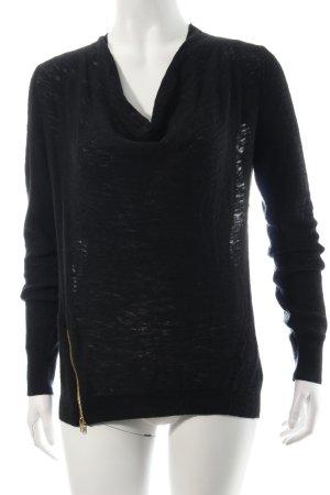 American Vintage Kraagloze sweater zwart casual uitstraling