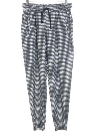American Vintage Pantalón tipo suéter blanco-negro estampado a cuadros