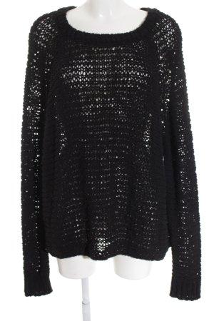 American Vintage Gebreide trui zwart losjes gebreid patroon casual uitstraling