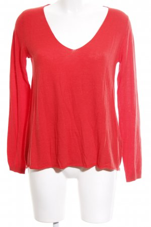 American Vintage V-Neck Sweater bright red casual look