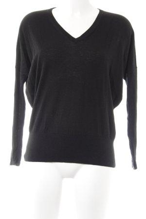 American Vintage Jersey con cuello de pico negro look casual