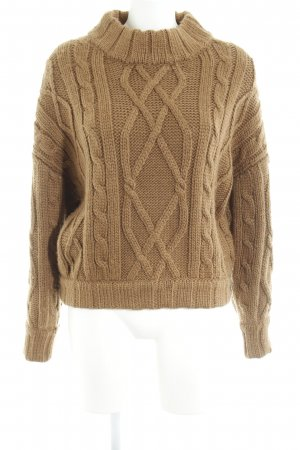American Vintage Wollpullover camel Zopfmuster Casual-Look