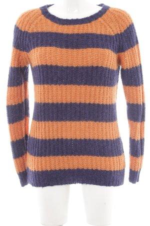 American Vintage Jersey de lana naranja-azul oscuro Patrón de tejido
