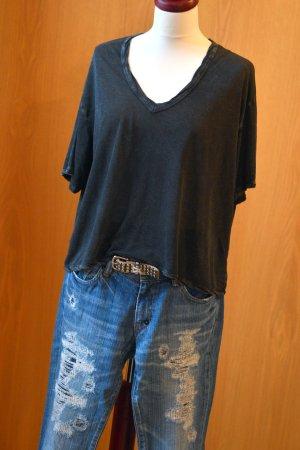 AMERICAN VINTAGE XS/S oversize cropped cooles crop Shirt kurz schwarz usedlook